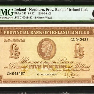 IRELAND, NORTHERN. Northern Prov. Bank of Ireland Ltd. 5 Pounds, 1954-59.
