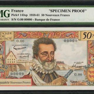 FRANCE. Banque de France. 50 Nouveaux Francs, 1959-61. P-143sp. Specimen