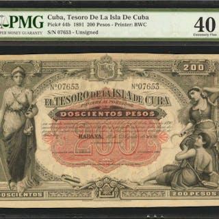 CUBA. Tesoro de la Isla de Cuba. 200 Pesos, 1891. P-44b. PMG Extremely Fine 40.