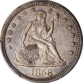1858 Liberty Seated Quarter. AU-50 (PCGS).