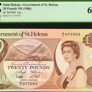 SAINT HELENA. Government of St. Helena. 20 Pounds, ND (1986). P-10a.