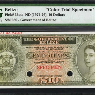 BELIZE. Government of Belize. 10 Dollars, ND (1974-76). P-36cts. Color