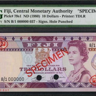 FIJI. Central Monetary Authority. 10 Dollars, ND (1980). P-79s1. Specimen.