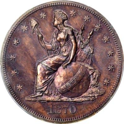 1870 Pattern Dollar. Judd-1017, Pollock-1151. Rarity-7-. Copper. Plain