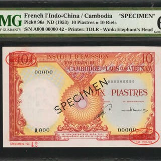 FRENCH INDO-CHINA. Institut d'Emission. 10 Piastres, ND (1953). P-96s.