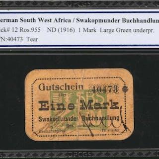 GERMAN WEST AFRICA. Swakopmunder Buchhandlung. 1 Mark, ND (1916).