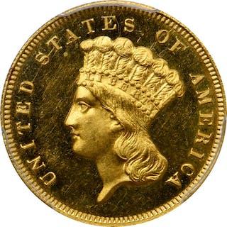 1864 Three-Dollar Gold Piece. Proof-64+ Cameo (PCGS). CAC.