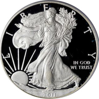 Lot of (4) 2011-Dated Silver Eagles. 25th Anniversary Set. First Strike.