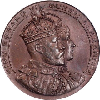 GREAT BRITAIN. Cardiff Visit Bronzed Copper Medal, 1907. Edward VII.