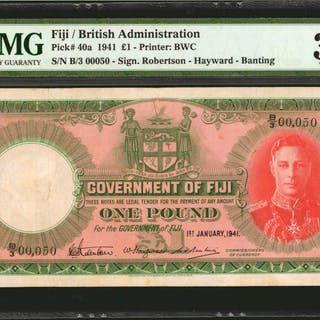 FIJI. Government of Fiji. 1 Pound, 1941. P-40a. Serial Number 50.