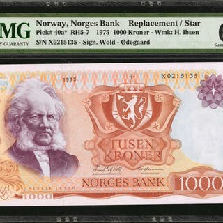 NORWAY. Norges Bank. 1000 Kroner, 1975. P-40a*. Replacement. PMG Gem
