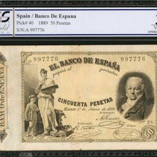 SPAIN. Banco de Espana. 50 Pesetas, 1889. P-40. PCGS GSG Very Fine 30.
