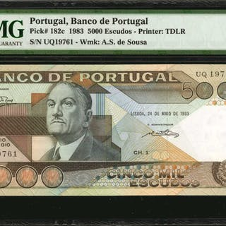 PORTUGAL. Banco de Portugal. 5000 & 10,000 Escudos, 1989. P-182c