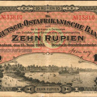 GERMAN EAST AFRICA. Deitsch-Ostafrikansche Bank. 10 Rupien, 1905.
