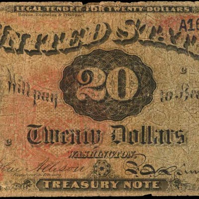 Fr. 127. 1869 $20 Legal Tender Note. Very Good.