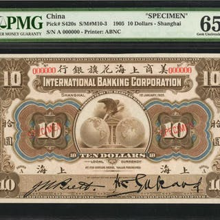 CHINA--PROVINCIAL BANKS. International Banking Corp. 10 Dollars, 1905.