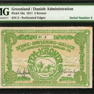 GREENLAND. Danish Administration. 5 Kroner, 1911. P-10a. Low Serial