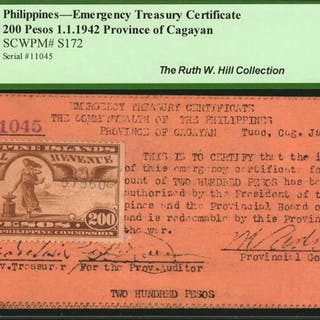 PHILIPPINES. Emergency Treasury Certificate. 200 Pesos, 1942. P-S172.