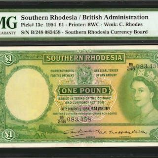 SOUTHERN RHODESIA. British Administration. 1 Pound, 1954. P-13c. PMG