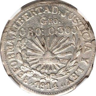MEXICO. Guerrero. Peso, 1914. NGC AU-53.