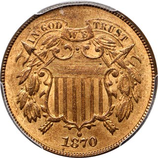 1870 Two-Cent Piece. MS-66 RD (PCGS).