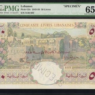 LEBANON. Banque de Syrie et du Liban. 50 Livres, 1945-50. P-52s. Specimen.