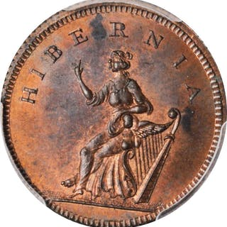 IRELAND. Dublin. Farthing (1/4 Penny) Token, ND (ca. 1790). PCGS MS-64