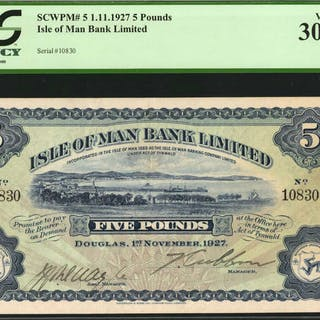 ISLE OF MAN. Isle of Man Bank Ltd. 5 Pounds, 1927. P-5. PCGS Currency