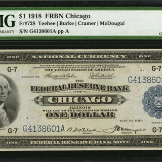 Fr. 728. 1918 $1  Federal Reserve Bank Note. Chicago. PMG Choice Extremely
