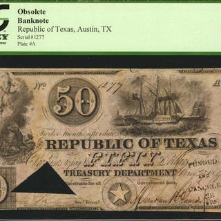 Austin, Texas. Republic of Texas. 1840  $50. PCGS Currency Choice