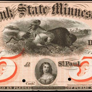St. Paul, Minnesota. The Bank of the State of Minnesota. 18xx $5.