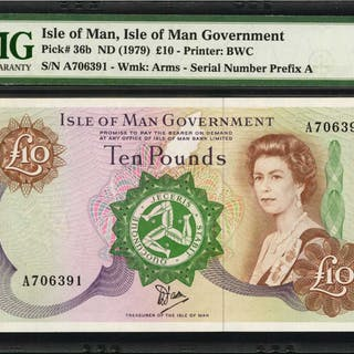 ISLE OF MAN. Isle of Man Governement. 10 Pounds, ND (1979). P-36b.