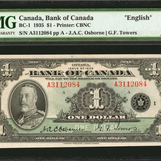 "CANADA. Bank of Canada. 1 Dollar, 1935. BC-1. ""English."" PMG About"
