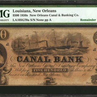 New Orleans, Louisiana. New Orleans Canal & Banking Co. 1850s  $500.