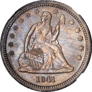 1841-O Liberty Seated Quarter. Briggs-2-C, FS-101. Doubled Die Obverse.