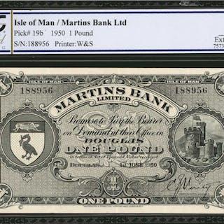 ISLE OF MAN. Martins Bank Ltd. 1 Pound, 1950. P-19b. PCGS GSG Extremely