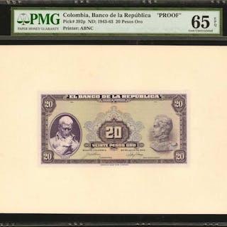 COLOMBIA. Banco de la Republica. 20 Pesos Oro, July 20, 1943. P-392p.