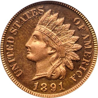 1891 Indian Cent. Snow-PR4. Proof-65 RD Cameo (PCGS).