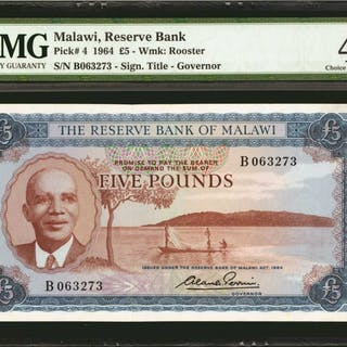 MALAWI. Reserve Bank of Malawi. 5 Pounds, 1964. P-4. PMG Choice Extremely