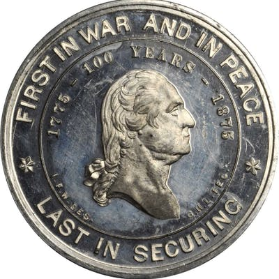 1875 I.F. Wood's Monument Medal. Second Reverse. White Metal. 39.7