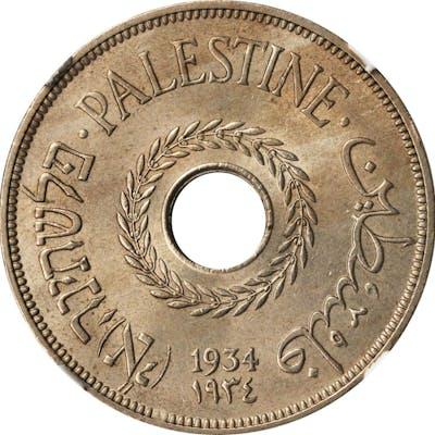 PALESTINE. 20 Mils, 1934. NGC MS-64.