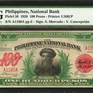 PHILIPPINES. Philippines National Bank. 100 Pesos, 1920. P-50. PMG