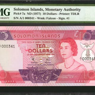SOLOMON ISLANDS. Monetary Authority. 10 Dollars, ND (1977). P-7a.