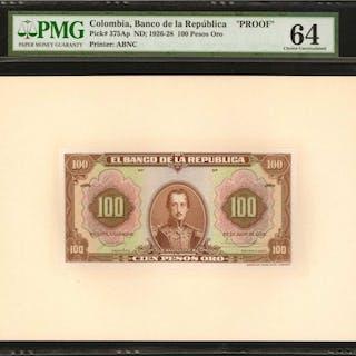 COLOMBIA. Banco de la Republica. 100 Pesos Oro, July 20, 1928. P-375Ap