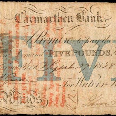 GREAT BRITAIN. Carmarthen. 5 Pounds, 1828. OUT-459c. Fine.