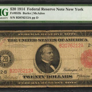 Fr. 953b. 1914 Red Seal $20  Federal Reserve Note. New York. PMG Fine