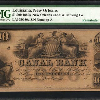 New Orleans, Louisiana. New Orleans Canal & Banking Co. 1850s  $1000.