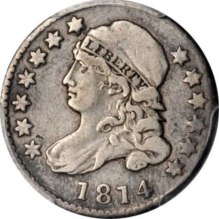 1814 Capped Bust Dime. Large Date. VF-25 (PCGS).
