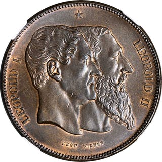 BELGIUM. Copper Medallic 5 Francs, 1880. Leopold II. NGC MS-65 Brown.