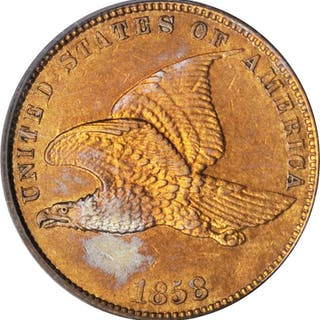 1858 Flying Eagle Cent. Large Letters. AU-53 (PCGS). OGH.